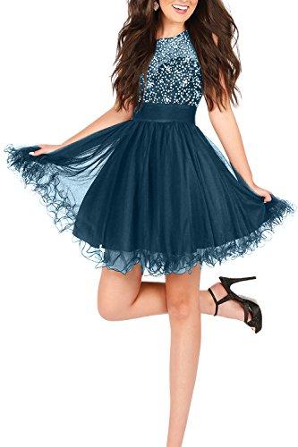 mit Abiballkleider La Cocktailkleider Blau Abendkleider Mini Pailletten mia Mini Tinte Tuell Perlen Partykleider Tanzenkleider Kurzes Brau BZyH4PrB
