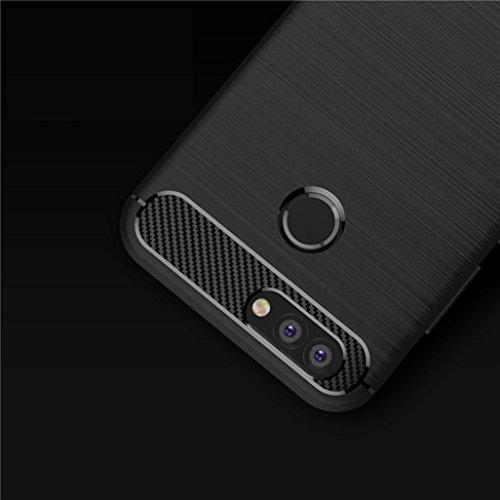 Funda Huawei NOVA 2 Plus,Alta Calidad Ultra Slim Anti-Rasguño y Resistente Huellas Dactilares Totalmente Protectora Caso de Cover Material de fibra de carbono TPU Adecuado para el Huawei NOVA 2 Plus E