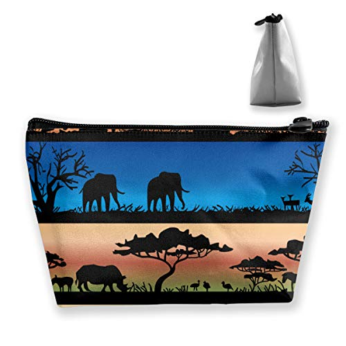 NOWDIDA Makeup Bag - Cosmetic Lipstick Cute Pouch Toiletry Travel Bag and Brush Organizer Purse Handbag for Women - African Wild Animals Acacia Trees