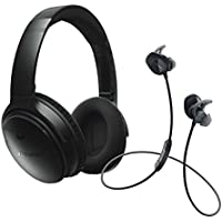 Bose QuietComfort 35 (Series I) Noise Cancelling Over-ear (Black) & SoundSport In-ear (Black) Wireless Bluetooth Headphone Bundle