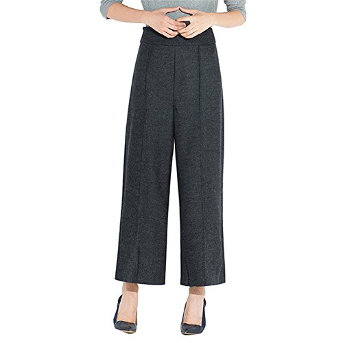Women's Winter Wool Blended Pants Warm Solid High Waist Loose Plus Size Female Casual Wide Leg Pants (Size: XL)