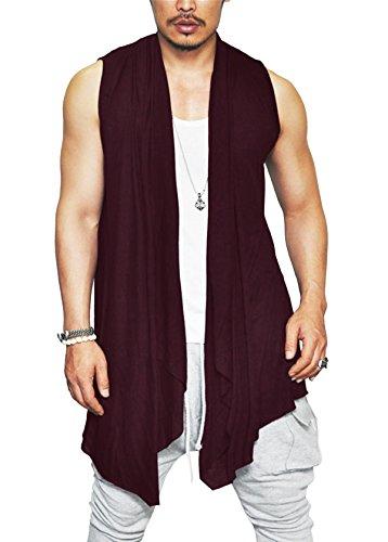 Simbama Men's Ruffle Shawl Collar Cardigan Summer Fashion Sleeveless Long (Long Ruffle Cardigan)
