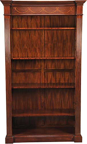 EuroLuxHome Open Bookcase Reeded Pilasters Rear Panel Construction Drape Pattern - Pattern Reeded