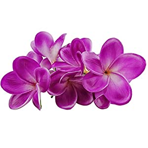 Winterworm Bunch of 10 PU Real Touch Lifelike Artificial Plumeria Frangipani Flower Bouquets Wedding Home Party Decoration (Light Purple)