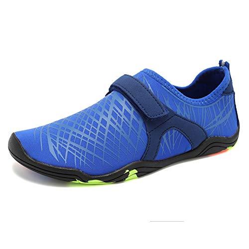 (FANTURE Girls & Boys Water Shoes Lightweight Comfort Sole Easy Walking Athletic Slip on Aqua Sock(Toddler/Little Kid/Big Kid)-Deep blue01-27)