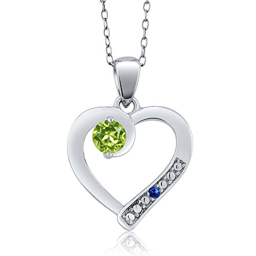 Gem Stone King Round Green Peridot Blue Sapphire 925 Sterling Silver Pendant (0.32 cttw)