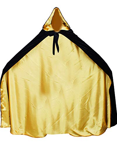 LuckyMjmy Velvet Renaissance Medieval Cloak Cape lined with Satin (Small, Black-Gold) -