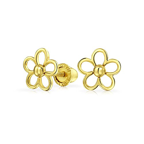 Daisy Out Cut (Children's 14K Gold Cut Out Daisy Shape Screwback Earrings)