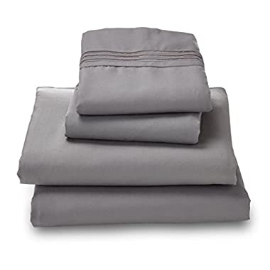 Where the Polka Dots Roam 100% Ultra Soft Microfiber Easy Care Luxury Sheet Set, Queen, Gray