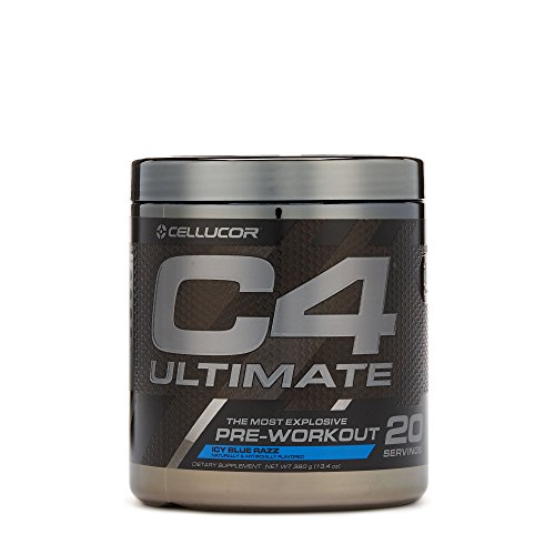 Workout Drink Mix Power Punch (Cellucor C4 Ultimate Pre Workout Powder with Beta Alanine, Creatine Nitrate, Nitric Oxide, Citrulline Malate, and Energy Drink Mix, Icy Blue Razz, 20 Servings)