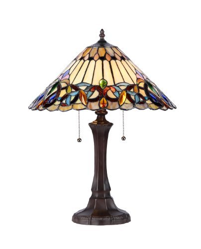 Chloe Lighting CH33318VI16-TL2 Ambrose Tiffany-Style Victorian 2-Light Table Lamp, 21.9 x 16.54 x 16.54″, Multicolor For Sale