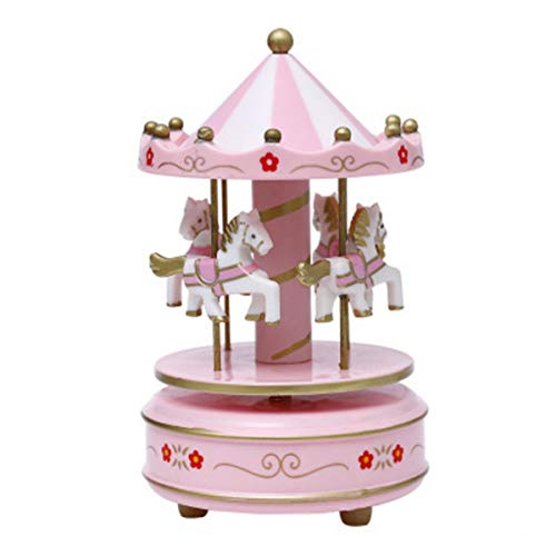 JiaHui Vintage Pink Wooden Merry-Go-Round Horse Christmas Birthday Gift Carousel Music Box, Clockwork Mechanism Laxury Carousel Music Box, Birthday Cake Topper (Style 1)
