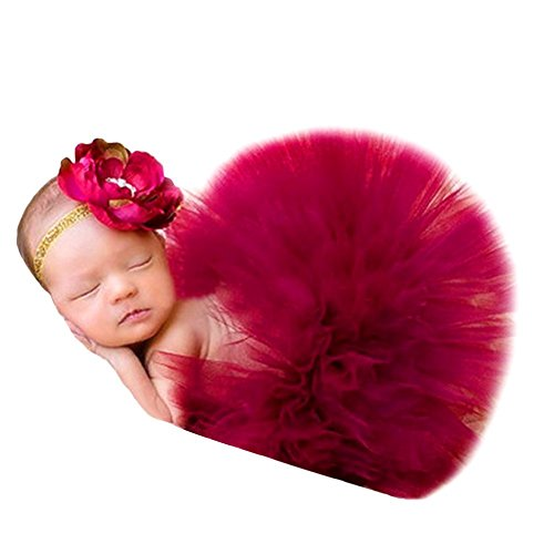 HugeStore Baby Newborn Infant Photo Photography Prop Costume Outfits Tutu Dress Skirt Suit Headband Set Deep (Tutu Costumes Diy)