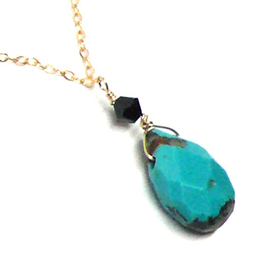 Gland Thymus Immunity - Turquoise Beveled Flat Teardrop Dainty Chain Necklace Gold-Filled 18 Inches