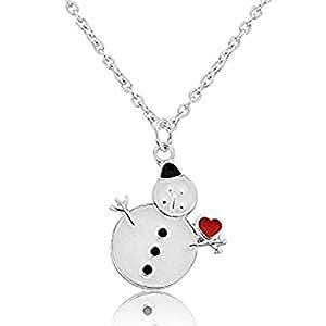 Modernas joyas de Navidad - Collar con colgante de muñeco de nieve - Pendientes a juego disponibles.