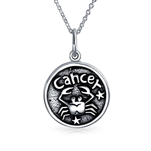 Cancer Zodiac Sign Astrology Horoscope Round Medallion Pendant For Men Women Necklace Antiqued Sterling Silver (Male Sign Medallion)