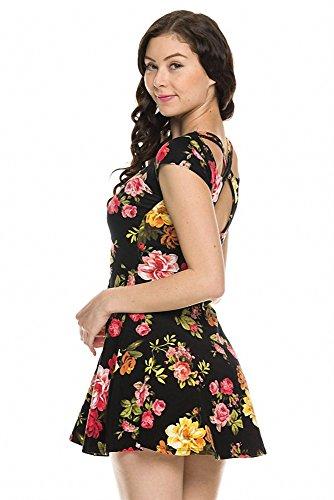 Sassy Apparel Womens Floral Print Cross Back Cut-out Cap Sleeve Skater Dress (Medium, Black)