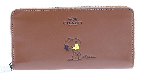 (Coach X Peanuts Leather Accordion Zip Wallet Snoopy Woodstock Saddle)