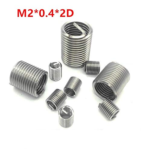 M2 Screw Bushing Heliciol Wire Thread Repair Inserts SUS304 Ochoos 100pcs M20.42D Wire Thread Insert M2x2d Wire Screw Sleeve