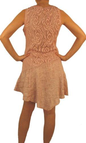 Mujer Para Básico Sin Perano Túnica Cuello Rosa Mangas Redondo Vestido qw6vORZ