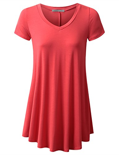 URBANCLEO Womens V-Neck Elong Tunic Top Mini T-Shirt Dress Coral 3XLARGE - V-neck Long T-shirt