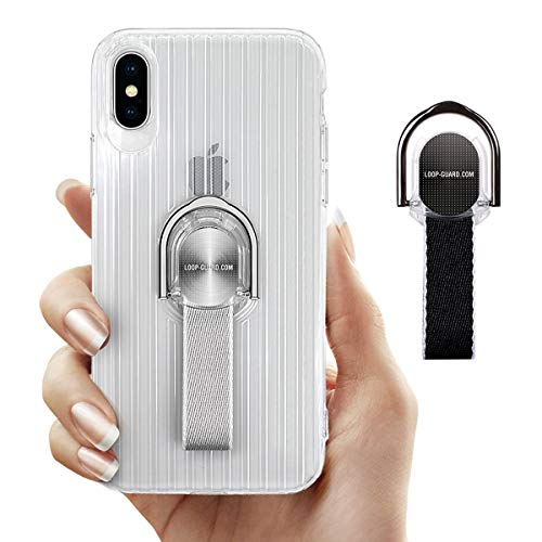 LAVAVIK iPhone X Case with Ring Kickstand & Finger Straps, Crystal Clear Soft TPU Cover with Black & Gray Finger Loop Grips for Apple iPhone X/10, Works with Magnetic Mount & Wireless Charger