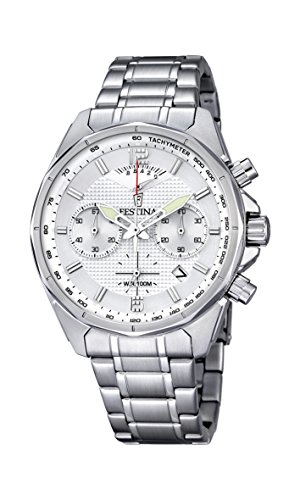 - Festina F6835/1 Mens Watch Chronograph Silver Dial Stainless Steel Luminous Hand
