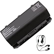 Amsahr Replacement Battery for ASUS ROG G750, G750J, G750JH, G750JW, G750JX, A42-G750 - Includes Stereo Earphone