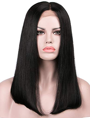 Lanyi 14 inch Human Hair Lace Front Straight Wig Middle Part Natural Black Brazilian Virgin Hair Lace Wig Color 1b Shoulder Length