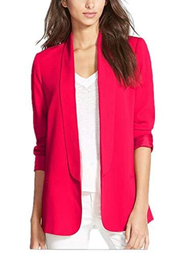 - Enlishop Women's OL Long Sleeve Lapel Slim Boyfriend Blazer Jacket Red