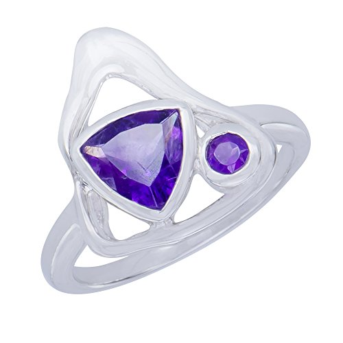 - Dazzling Genuine Triangle Amethyst Natural Gemstone Sterling Silver Trilliant Shapes Jewelry Womens Ring
