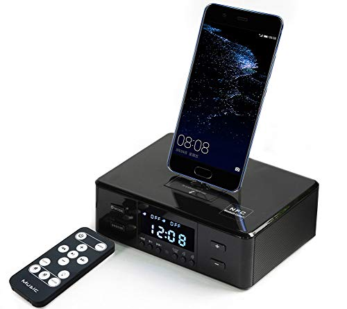 (Up Force Digital AUX FM NFC Speaker Dual Alarm Clock Radio Bluetooth Speaker Dock Station Charging for iOS Android with Remote Control)