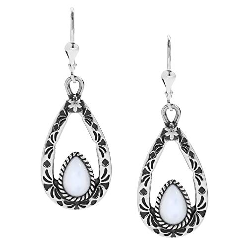 - American West .925 Sterling Silver Mother of Pearl Teardrop Dangle Earrings