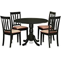 East West Furniture DLAN5-BLK-C 5 Piece Dinette and 4 Kitchen Chairs Dining Table Set for 4 People