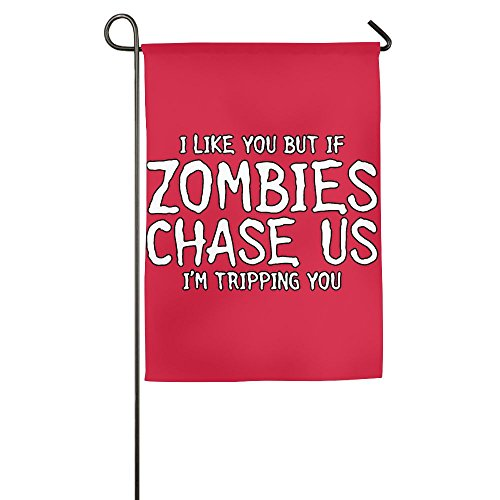 If Zombies Chase Us, I'm Tripping You Funny Festival Flag -