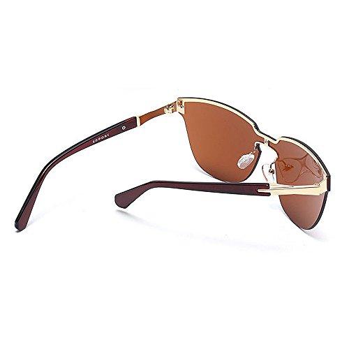 Aire Sol Marrón Mujer de Libre Gris Eyes al Cat Peggy Gu Gafas Style de One UV Piece viaja Color Vintage para Protección Conducción Que Tg6qgz