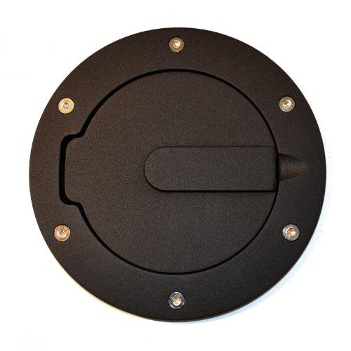 AMI 6047K Race Style Billet Fuel Door 6 1/2'' Ring O.D. 4 1/2'' Door O.D.-Flat Black Ring and Door, 1 Pack