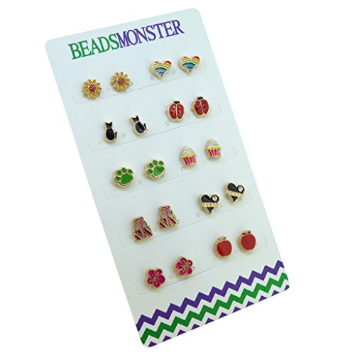 Color Enamel golden Magnetic Clip On Studs Earrings Gift For Girls Kids Womens -