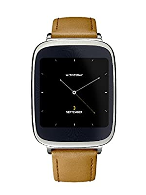 ASUS Zenwatch Wearable Tech with Light Brown Leather Strap - Retail Packaging - Silver/Rose Gold Layering