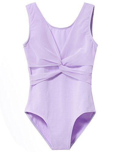 - Apexary Girls' Tank Leotard with Mesh Cross Front (59