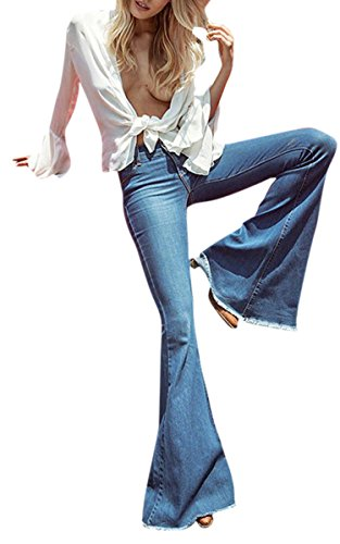 (GALMINT Women's Juniors Bell Bottom High Waisted Fitted Flared Denim Jeans Pants)