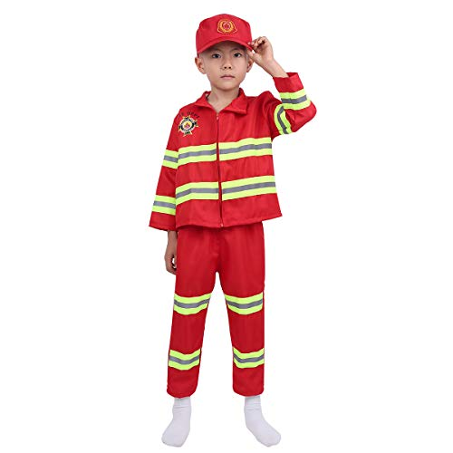easyforever Unisex Kids Boys Girls Fireman Firefighter Costume Long Sleeves Jacket with Pants Hat Set Red 7-8]()