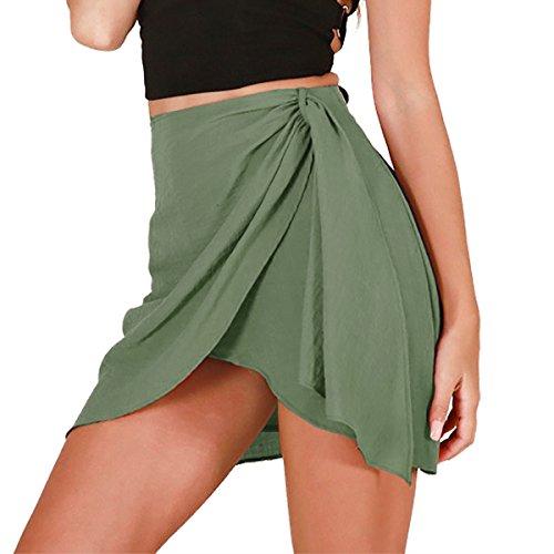 Taille Split Jupes Wrap Crayon Green Haute irrgulire Jupe Ourlets d't Court Femmes Mini New q0wRwH