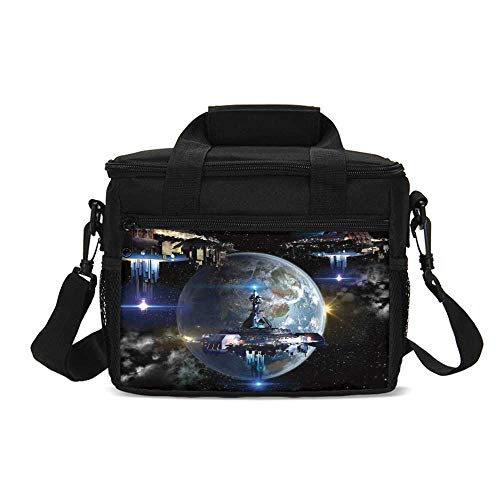 War Home Decor Durable Lunch Bag,Alien Ship Fleet Close to Earth Invasion of World Outer Space Galaxy Artwork for Picnic Travel,9.4
