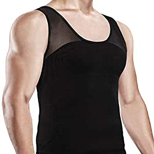 Hoter Men's Compression Shirt to Hide Gynecomastia Moobs Chest Slimming Body Shaper Undershirt - Black, M