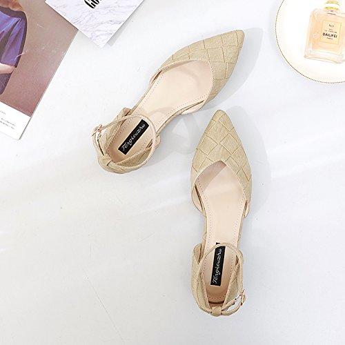 Plana Hueco Baja luz ranurada Beige Calzado Damas con Sandalias Mujer Hasp Solo Zapatos Zapatos de Qiqi Femenino de Xue Punta wYzZXyq