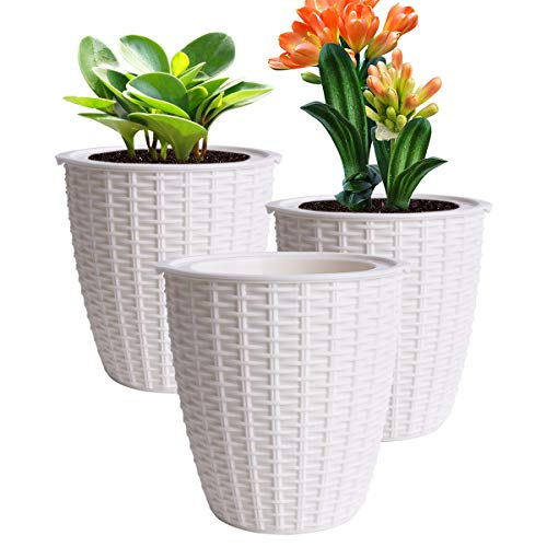(Vencer 3 Pack Plastic Self Watering Plante Pot,Suitable for All Plants,Wicker Rattan-Look,VF-0122W)