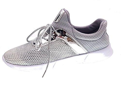 monelli TG Sport comode Scarpe Grigio Tessuto 39 Argento Sneakers Donna Piccoli Basse FOZqq