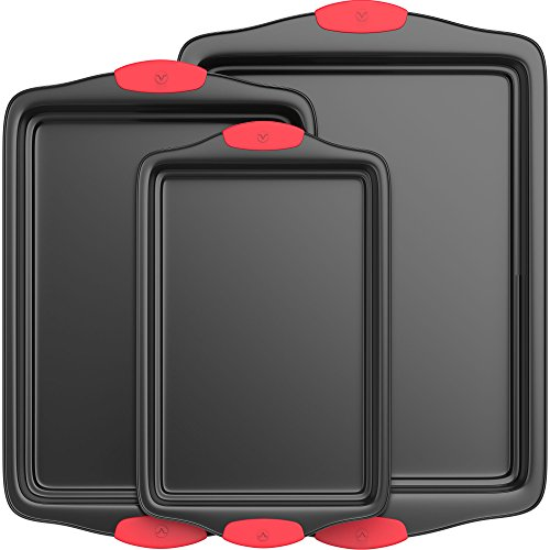 Vremi 3 Piece Baking Sheets Nonstick Set - Professional Non Stick Sheet Pan Set for Baking - Carbon Steel Baking Pans Cookie Sheets with Red Silicone Handles - has Quarter and Half Sheet Pans by Vremi (Image #4)