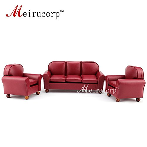 Meirucorp Dollhouse Furniture 1/12 Scale Miniature red Leather Sofa and Chair 3 pcs Set